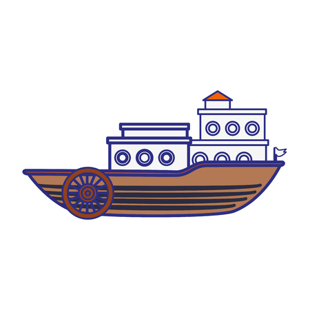 old ship icon over white background. vector illustration
