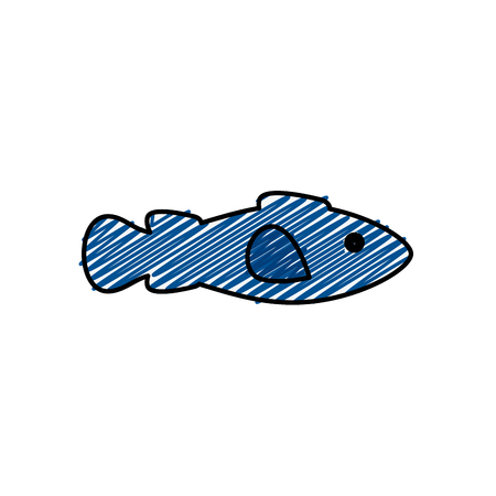 白い背景上の魚アイコン。ベクトル図
