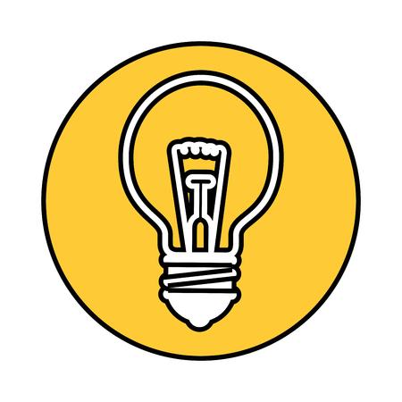 노란색 원과 흰색 배경 위에 전구 빛 아이콘. 벡터 일러스트 레이 션