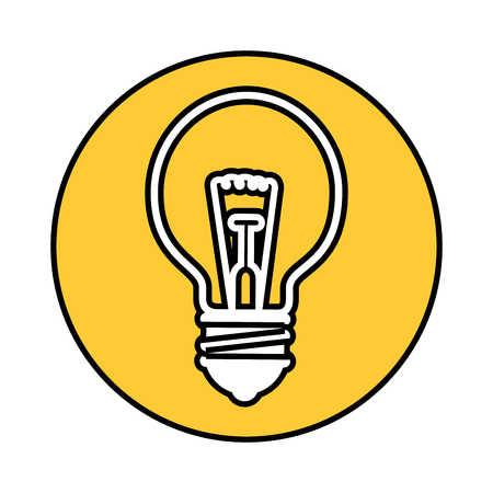 bulb light icon over yellow circle and white background. vector illustration