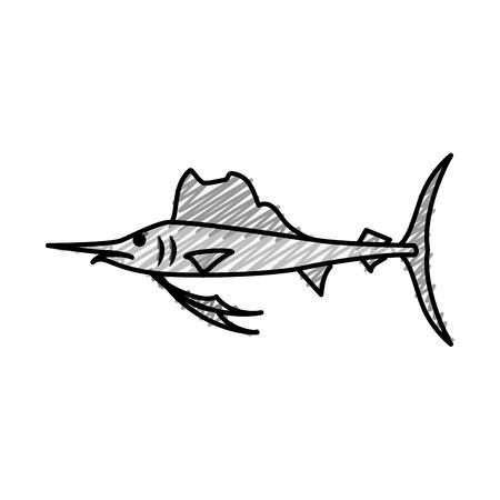 swordfish icon over white background. vector illustration