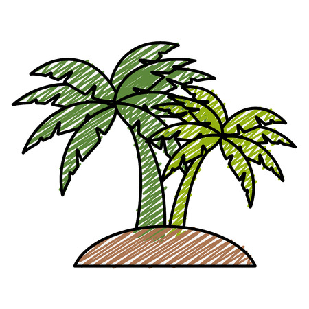 tropical palms icon over white background. colorful design. vector illustration