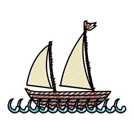 白い背景の上のヨットのアイコン。カラフルなデザイン。ベクトル図  イラスト・ベクター素材