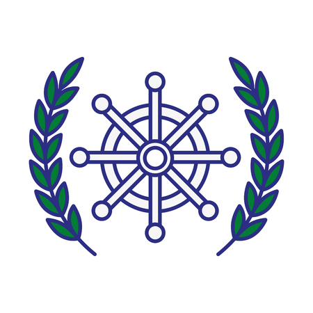 emblem with rudder wheel icon over white background. sea lifestyle concep. vector illustration Illustration