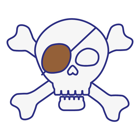 pirate skull icon over white background. vector illustration