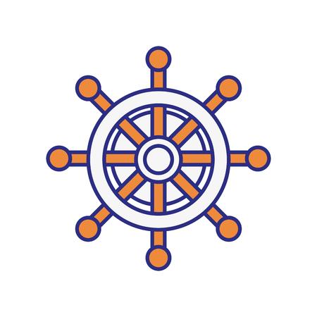 ruder: Emblem mit Ruderrad-Symbol auf weißem Hintergrund. Meerlebensstil concep. Vektor-Illustration