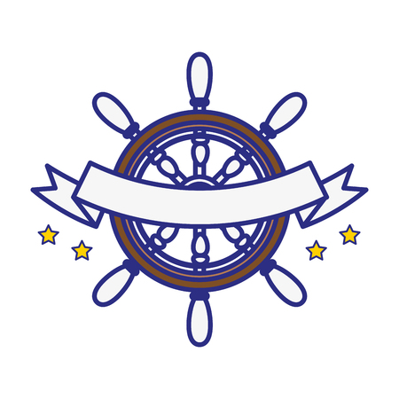 concep: emblem with rudder wheel and decorative ribbon icon over white background. sea lifestyle concep. vector illustration Illustration