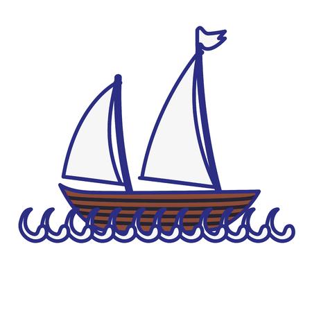 白い背景の上のヨットのアイコン。ベクトル図  イラスト・ベクター素材