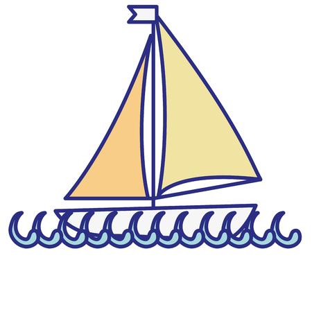 sailboat icon over white background. colorful design. vector illustration Illustration