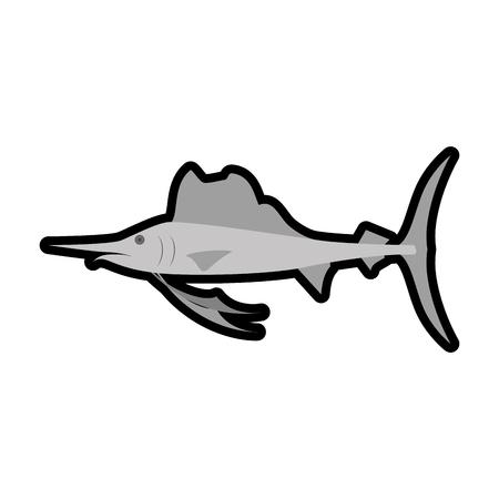 swordfish icon over white background. vector illustration Stock Vector - 77196544