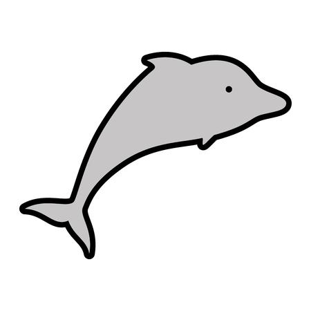 白い背景の上のイルカのアイコン。ベクトル図  イラスト・ベクター素材