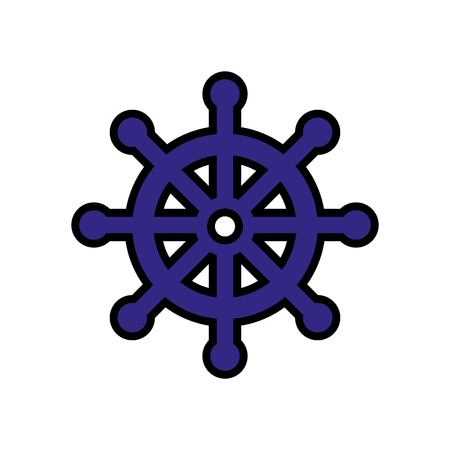 concep: emblem with rudder wheel icon over white background. sea lifestyle concep. vector illustration Illustration