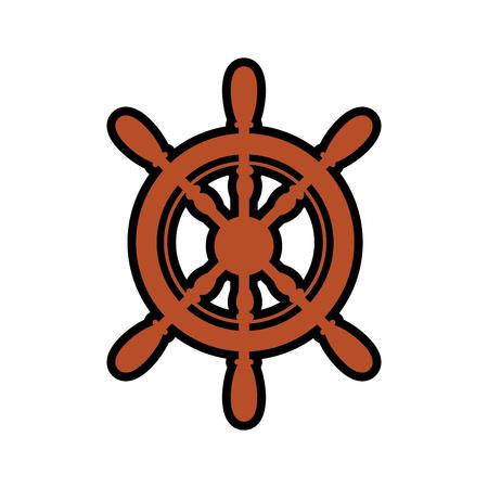 embleem met roer wiel pictogram op witte achtergrond. zee levensstijl concep. vectorillustratie