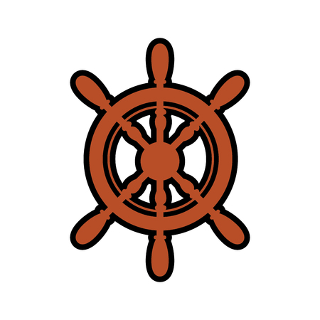 emblem with rudder wheel icon over white background. sea lifestyle concep. vector illustration Illusztráció