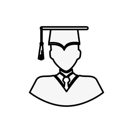 graduate man icon over white background. vector illustration