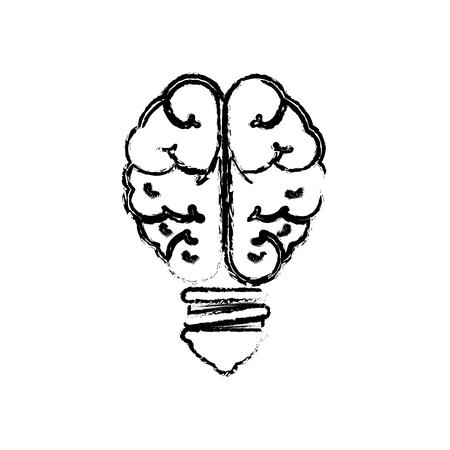 brain bulb light icon over white background. vector illustration Иллюстрация