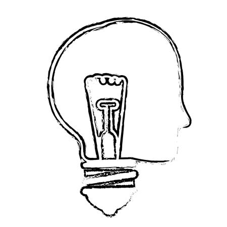 흰색 배경 위에 전구 빛 아이콘으로 머리. 벡터 일러스트 레이 션