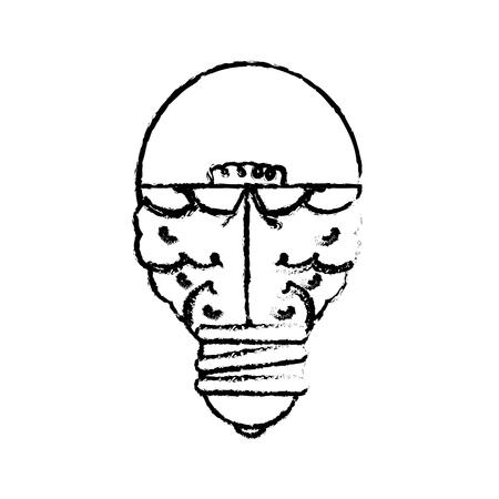 흰색 배경 위에 뇌 전구 빛 아이콘입니다. 벡터 일러스트 레이 션