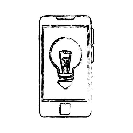 smartphone met lamp licht pictogram op witte achtergrond. vectorillustratie Stock Illustratie