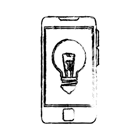 smartphone with bulb light icon over white background. vector illustration