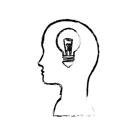 hoofd met gloeilamp licht pictogram op witte achtergrond. vectorillustratie