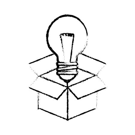 kartonnen doos met lamp licht pictogram op witte achtergrond. vectorillustratie Stock Illustratie