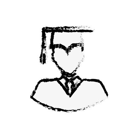 白い背景上の大学院人間アイコン。ベクトル図