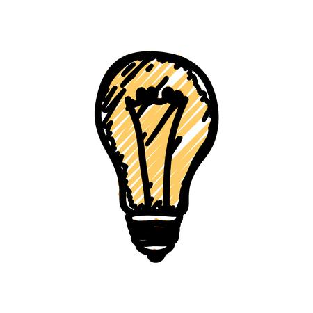 흰색 배경 위에 노란색 전구 빛 아이콘입니다. 벡터 일러스트 레이 션