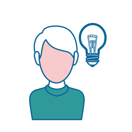 man with bulb light icon over white background. vector illustration