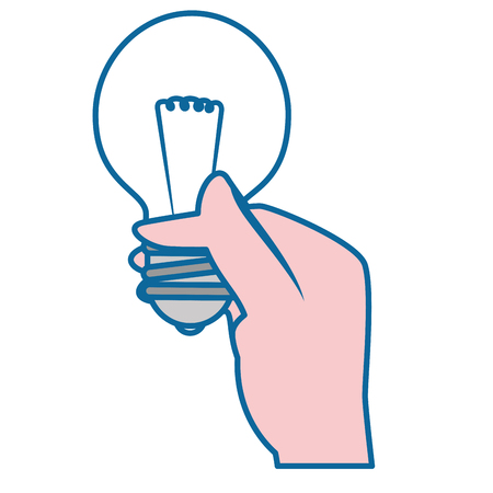 hand with bulb light icon over white background. vector illustration