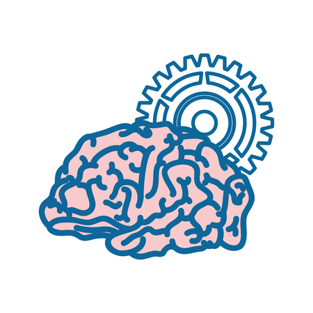Human brain with gear wheel  icon over white background. vector illustration