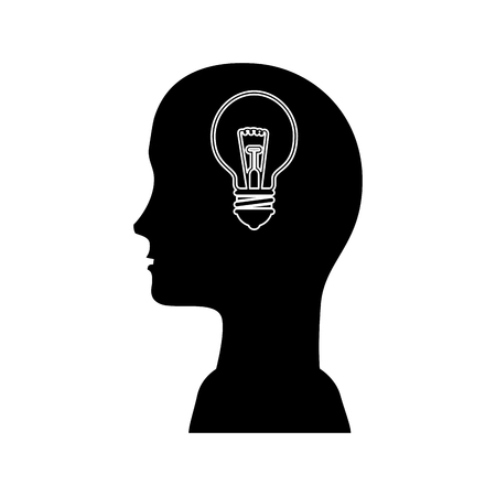 head with bulb light icon over white background. vector illustration Иллюстрация
