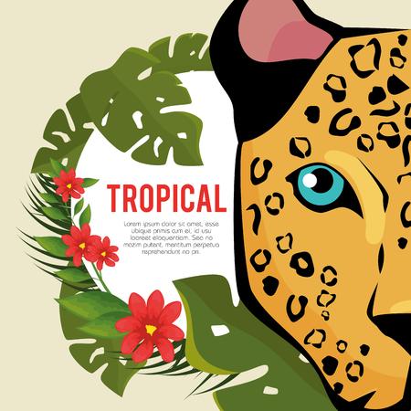 열대 여름 시간 포스터 벡터 일러스트 레이션 디자인