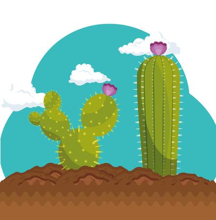 Cactus plant botany icon vector illustration design Çizim