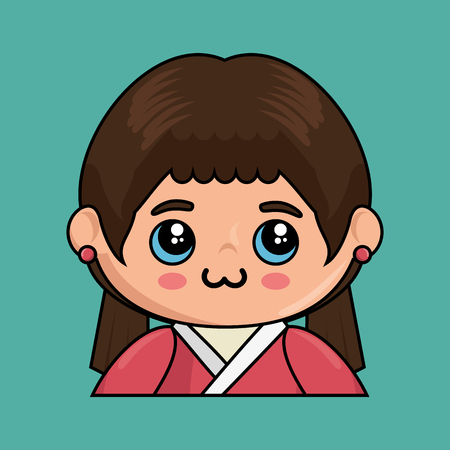 Cute japanese doll kawaii style vector illustration design Ilustração