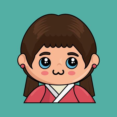 Cute japanese doll kawaii style vector illustration design Illustration