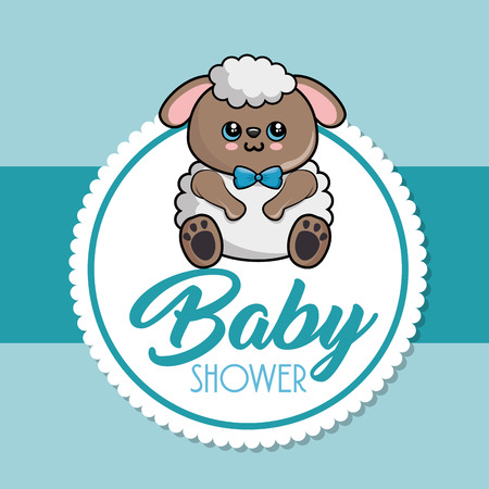 Baby shower card with sheep vector illustration design
