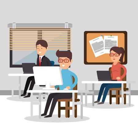Teamwork Mensen verzameld in het kantoor vector illustratie ontwerp
