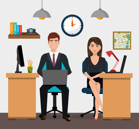 teamwork People gathered in the office vector illustration design