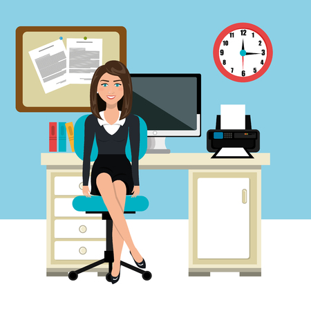businesswoman working in the office vector illustration design