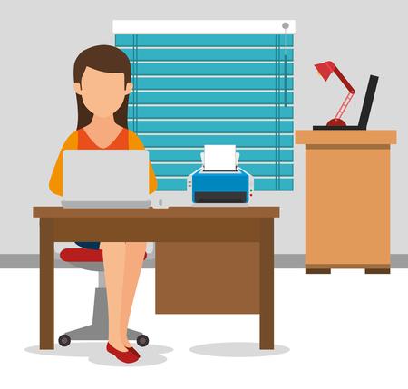Geschäftsfrau arbeitet im Büro Vektor-Illustration Design Standard-Bild - 77277438