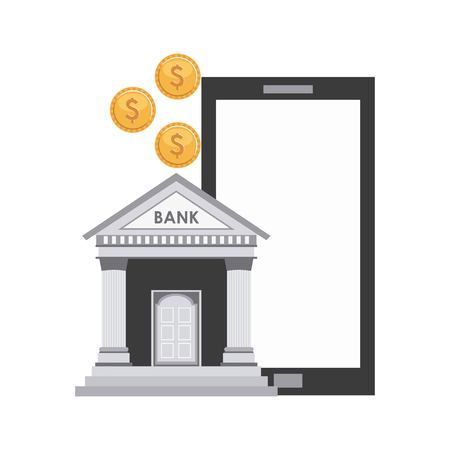 bank building economy icons vector illustration design
