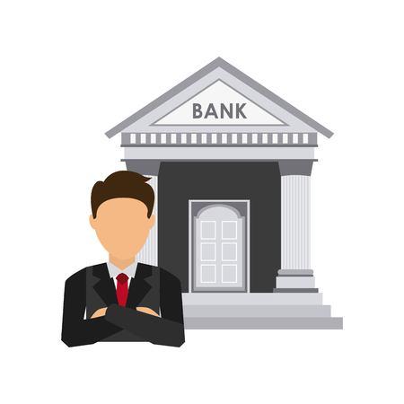 bank gebouw economie iconen vector illustratie ontwerp