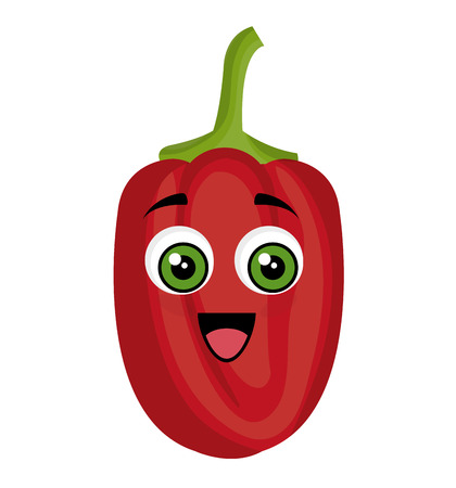 peppers vegetables comic character vector illustration design
