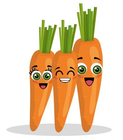 carrots vegetables comic character vector illustration design