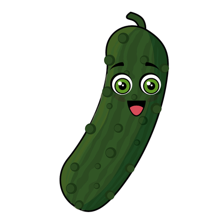 cucumber vegetables comic character vector illustration design Çizim