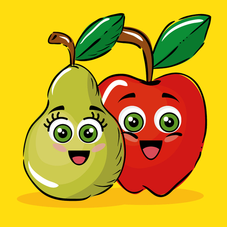 pear and apple fruits comic characters vector illustration design