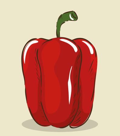 pepper fresh and healthy vegetable vector illustration design Illusztráció