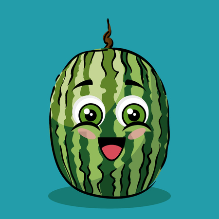 watermelon fruit comic characters vector illustration design