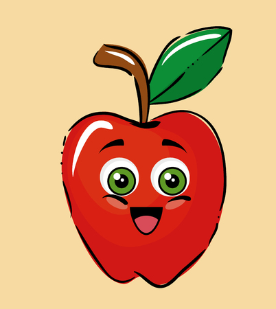 apple fruits comic characters vector illustration design